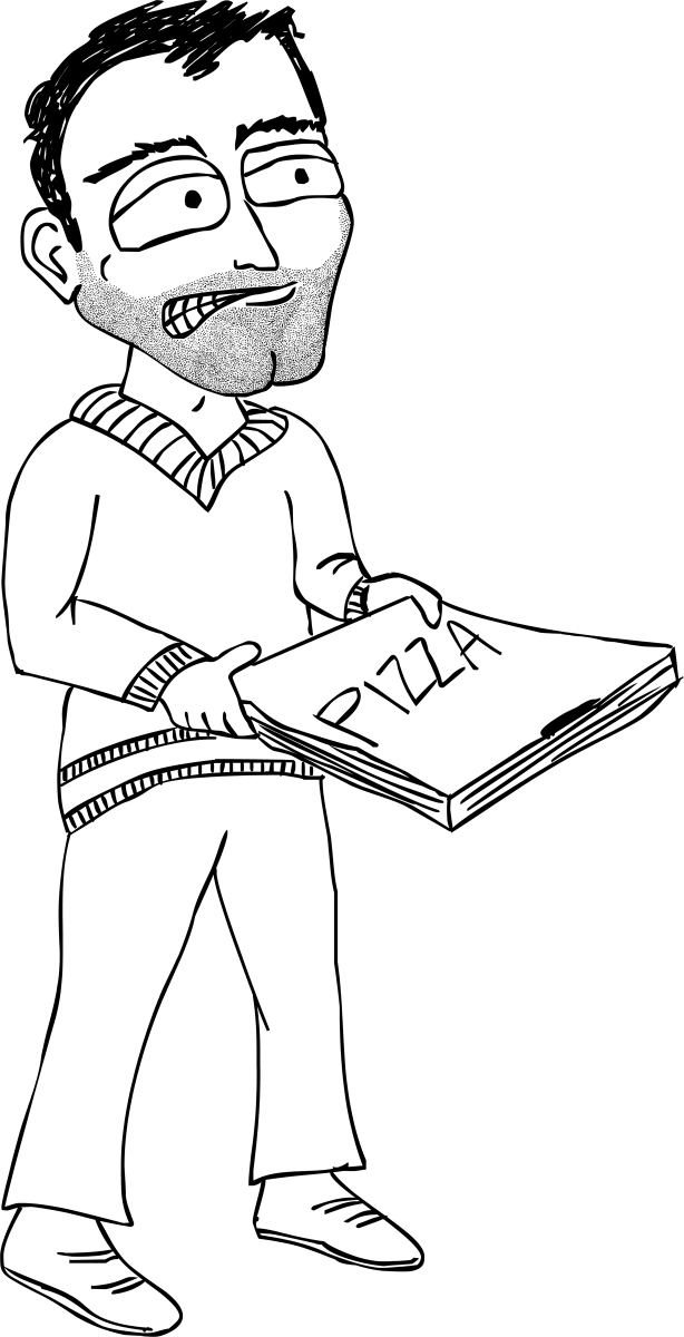 Pizza guy illustration for The Glossary