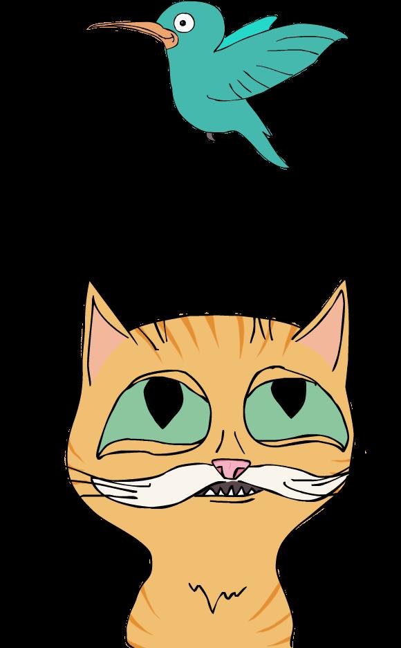 Cat admiring a hummingbird